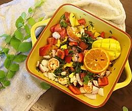 夏日里异域风情鲜虾水果蔬菜沙拉的做法