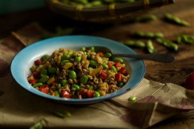 下饭菜--肉末萝卜干炒毛豆