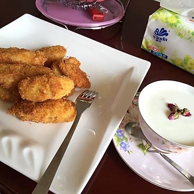 下午茶点心:炸香蕉+酸奶