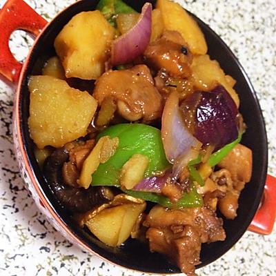 無油版香菇土豆燜雞米飯
