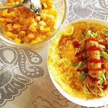 营养早餐:芝士烤红薯丁+蛋皮蔬菜卷