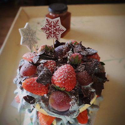 轻乳酪草莓巧克力片 裸蛋糕