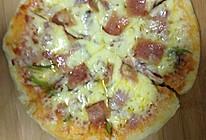 微波炉培根火腿蘑菇比萨的做法