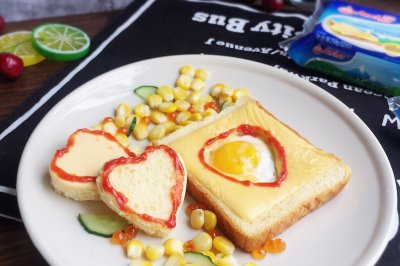 #安佳儿童创意料理#有爱的煎蛋芝士吐司片