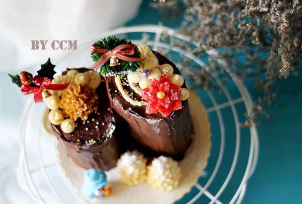 甜蜜的圣诞树根蛋糕