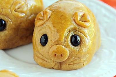 無需月餅模的 ~~小豬月餅   祝大家中秋節快樂!