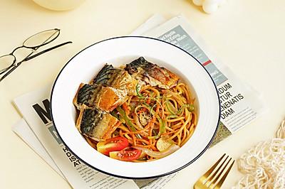 超快手!盐烤青花鱼意面,好吃到舔盘,完胜西餐厅