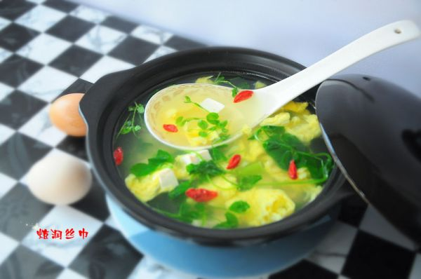 豆苗鸡蛋汤
