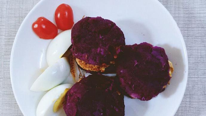 健身减脂 无油紫薯鸡胸肉汉堡