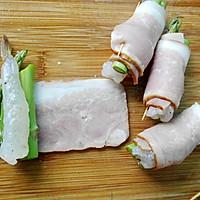 芦笋鲜虾培根卷的做法图解4