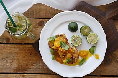 【原麦早餐】杏仁葡萄卷:橙香法式面包布丁片+青柠百香果特饮