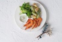 铸铁锅焖杂蔬鲜虾配薄荷酸奶酱的做法