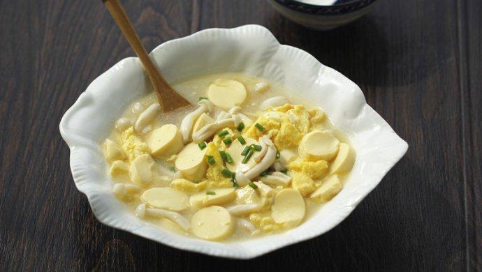 白玉菇鸡蛋豆腐羹