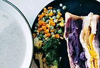 快手减脂早餐 紫薯鸡蛋三明治的做法