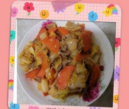 白菜胡萝卜炒肉的做法
