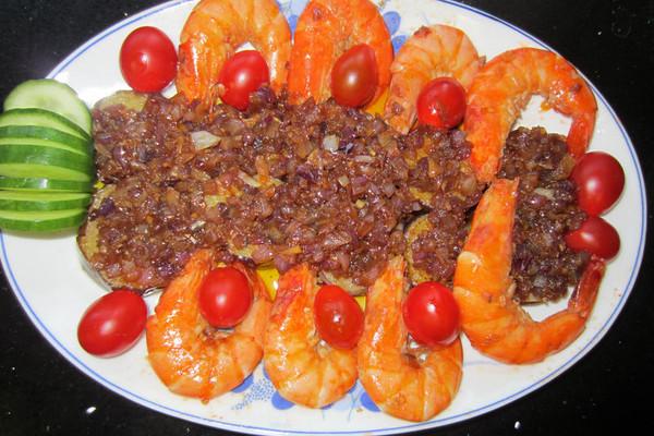 香炸茄虾的做法
