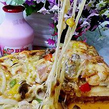 口蘑鲜虾披萨