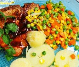香煎猪排简餐的做法