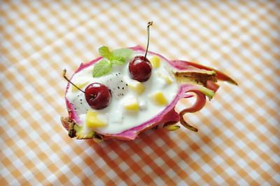创意火龙果酸奶沙拉船,深夜食堂减肥食谱