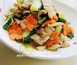 小平菇炒肉片的做法
