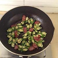 腊肠鸡蛋炒秋葵的做法图解5
