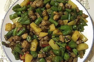 黑椒肉粒炒豆角