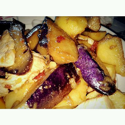 酸辣肉炒茄子土豆