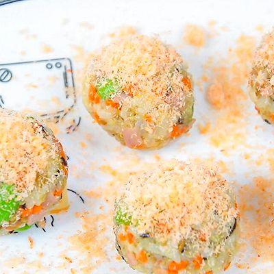 虾松杂蔬芝士饭团
