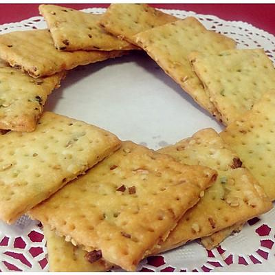 【多妈学烘焙】香葱芝麻苏打饼干