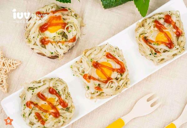 宝宝辅食:蛋巢面的做法