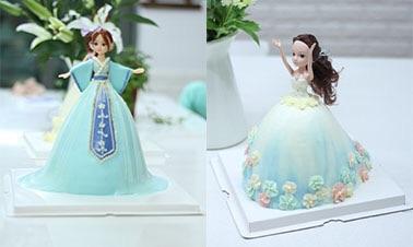 手绘婚纱女孩蛋糕