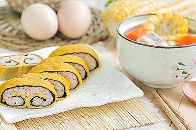 紫菜虾仁蛋卷 & 玉米胡萝卜排骨汤