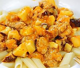 香菇肉末盖浇面 宝宝辅食,空心管面+胡萝卜+柠檬汁的做法