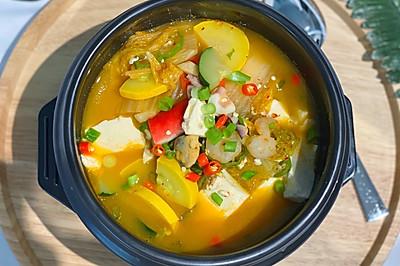 泡菜豆腐海鲜汤