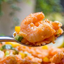 平底锅茄汁虾仁烩饭