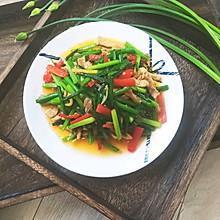 韭菜苔肉丝-炒菜只需六十秒