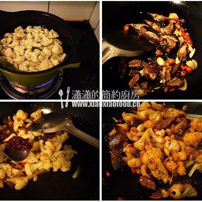 腊味干锅菜花的做法 步骤3