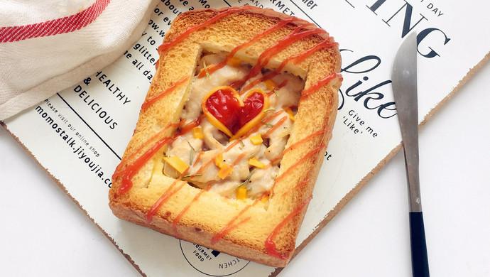 #520,美食撩动TA的心!#爱心鸡肉厚多士