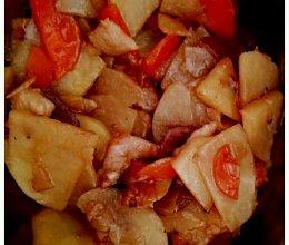 童年味道的土豆片胡萝卜片煸炒肉片的做法