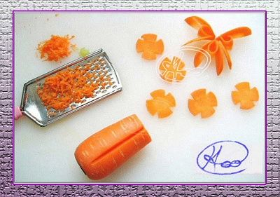 黄瓜、胡萝卜切花装饰