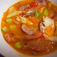 辣白菜海虾粉丝汤