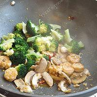 橄露Gallo经典特级初榨橄榄油试用之四——西兰花蘑菇烩虾仁的做法图解10