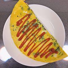 鸡蛋菠菜饼 | 快手 | 电饼铛 | 早餐
