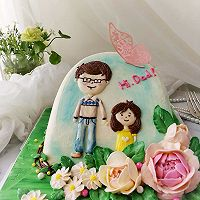 3D手绘立体场景裱花蛋糕~父女俩的做法图解7