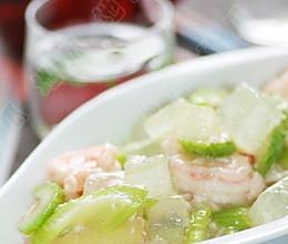 排毒养颜有疗效——西芹芦荟滑虾仁的做法
