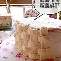 6寸水果奶油花篮裱花蛋糕(附戚风蛋糕制作)的做法图解16