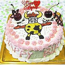 手绘牛牛生日蛋糕