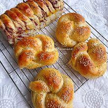 #爱好组-高筋#花式全麦面包+紫薯面包