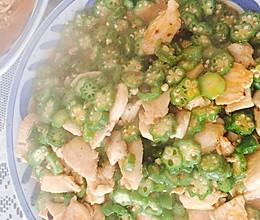 秋葵炒鸡肉的做法