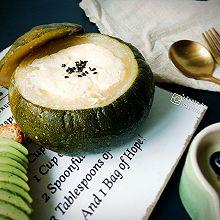 南瓜盅牛奶蒸蛋#中式点心开启你的回忆#